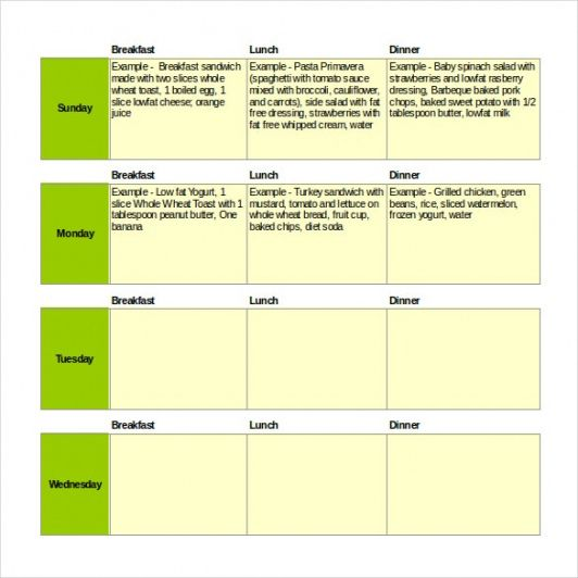 Costum Weekly Lunch Menu Template Doc