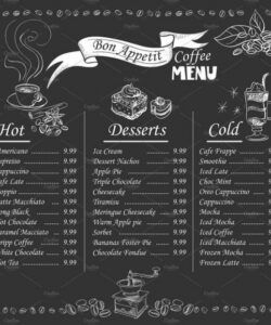 Editable Chalkboard Restaurant Menu Template Excel Example