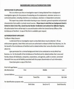 Editable Criminal Background Check Consent Form Template  Example