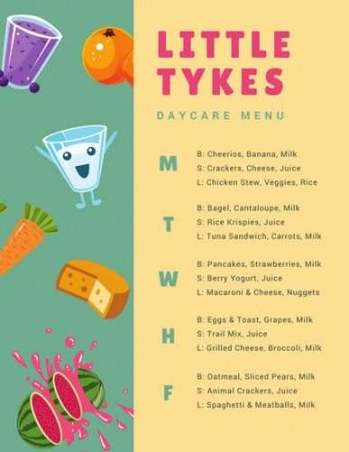 Editable Daycare Lunch Menu Template Excel Sample