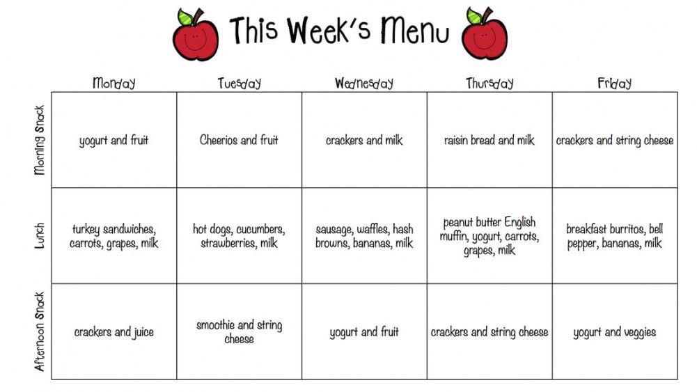 Editable Daycare Weekly Menu Template Word Example
