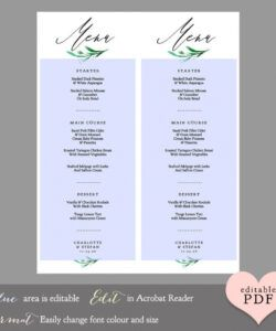 Editable Half Page Menu Template  Example