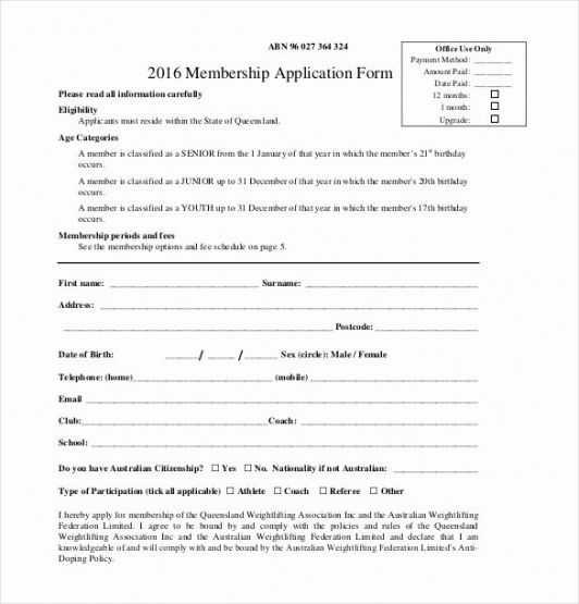 Free Church Membership Form Template Pdf
