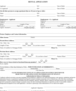 Free House Rental Application Form Template Excel Example
