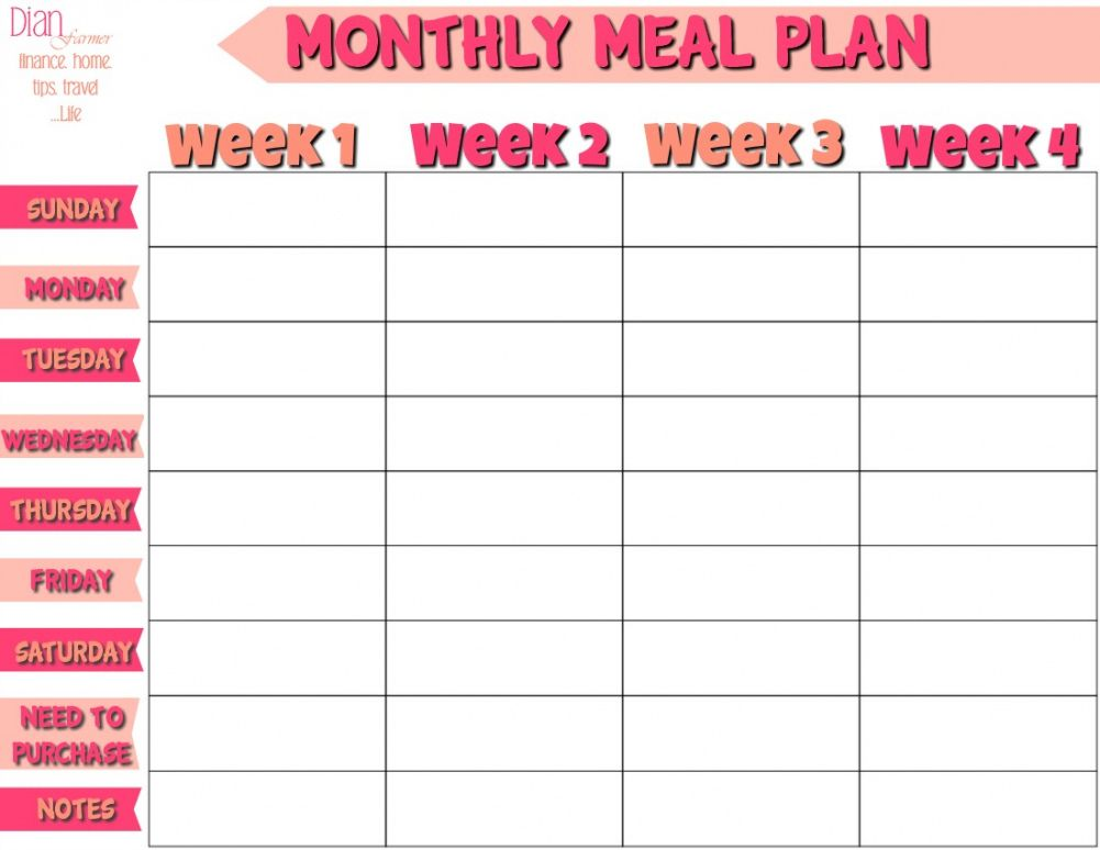 Free Monthly Lunch Menu Template  Sample