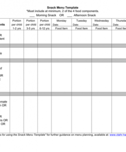 Free One Page Menu Template Doc Sample