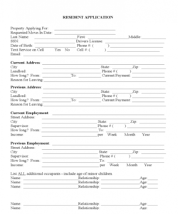House Rental Application Form Template Doc Example