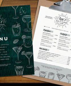 Printable Beverage Menu Template Excel Sample