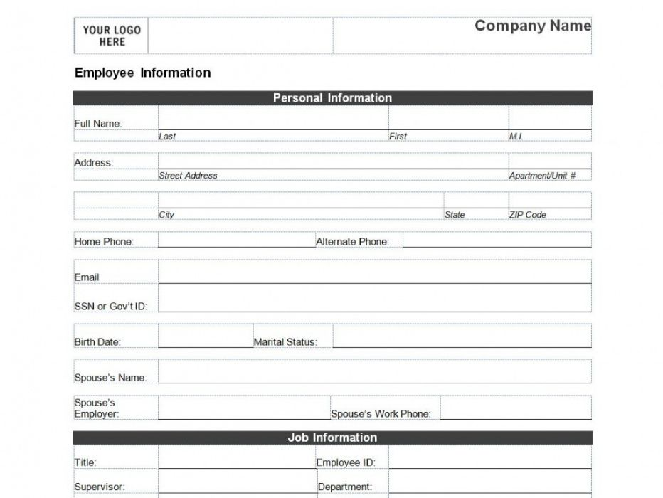 Professional New Employee Data Form Template  Example