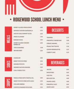 School Breakfast And Lunch Menu Template Doc Sample