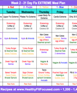 21 Day Fix Menu Template Excel Example