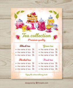 Best Tea Menu Template Excel Example