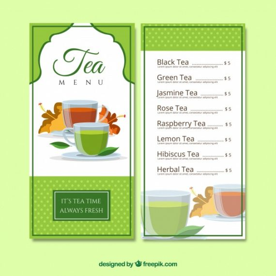 Best Tea Menu Template Pdf Sample
