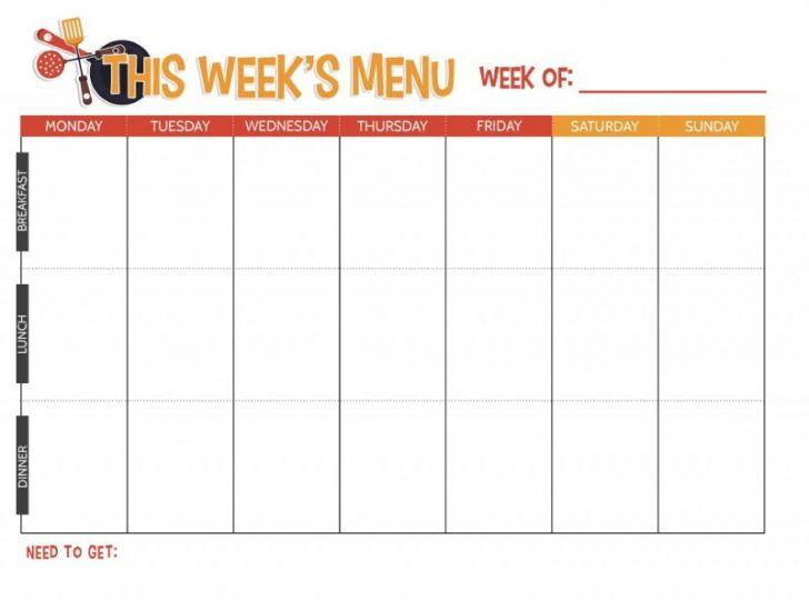 Best Weekly Dinner Menu Planner Template Excel Example