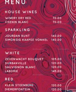 Best Wine Dinner Menu Template Excel Sample