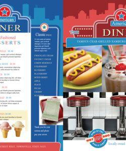 Costum American Diner Menu Template Excel Sample