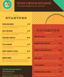 Costum Take Out Menu Template Excel Example