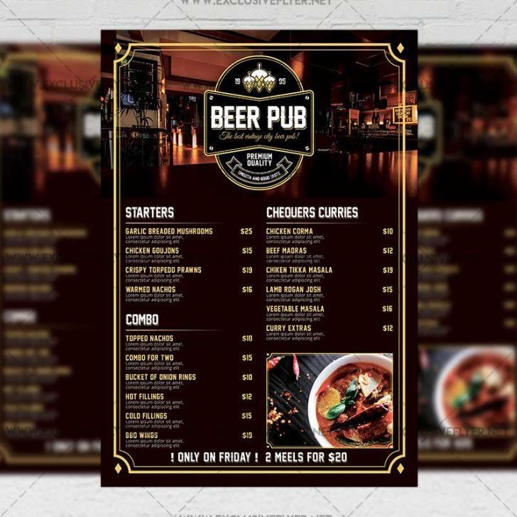 Editable Bar Food Menu Template Doc Example