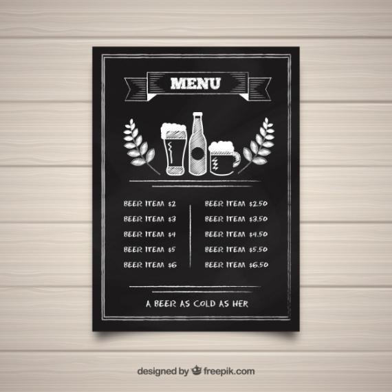 Editable Bar Food Menu Template Excel Sample