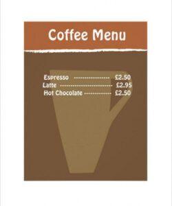 Editable Coffee House Menu Template  Sample