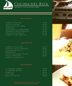 Editable Italian Dinner Party Menu Template Pdf Example
