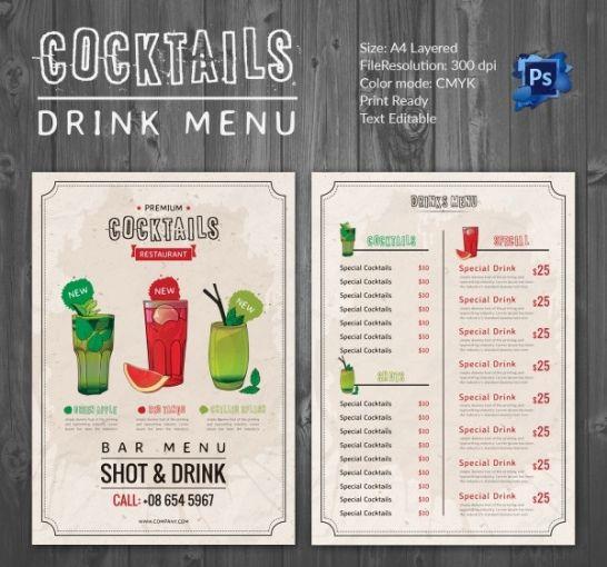 Editable Restaurant Drink Menu Template  Sample