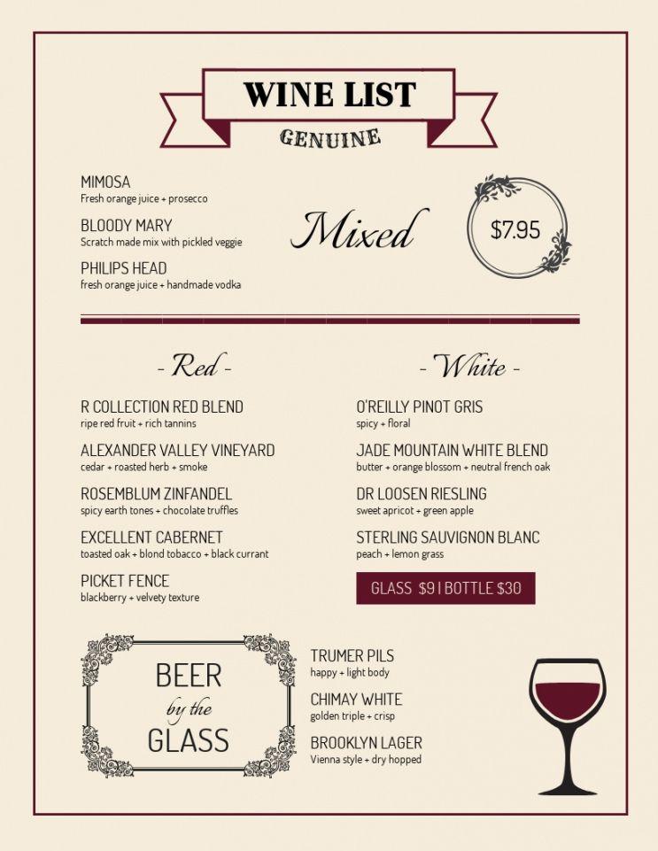 Editable Wine Dinner Menu Template