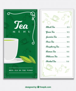 Free Tea Menu Template Word Example
