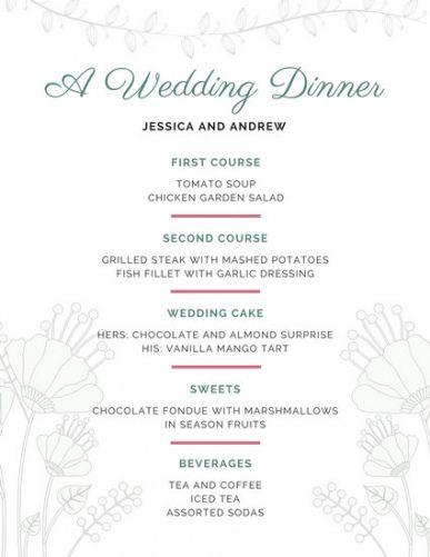 Printable 5 Course Meal Menu Template Excel Sample