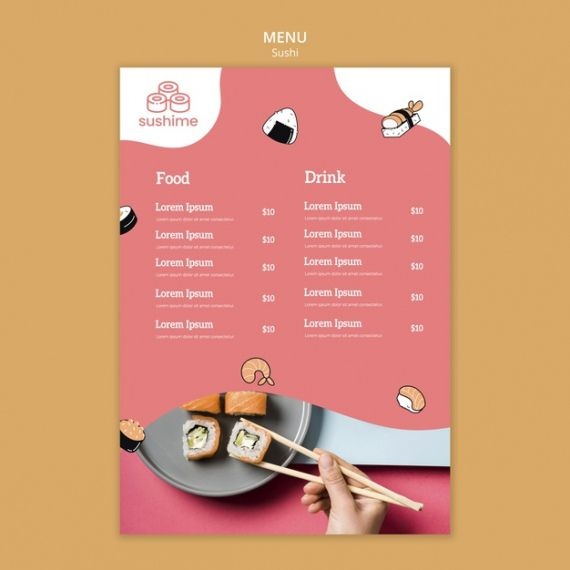 Printable Japanese Restaurant Menu Template Doc
