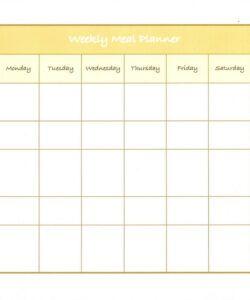 Printable Weekly Dinner Menu Planner Template Word Example