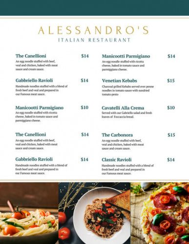 Professional 5 Course Meal Menu Template  Example