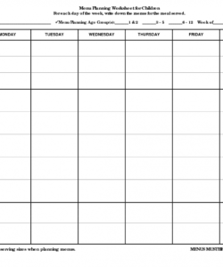 Professional Camping Menu Planner Template Excel