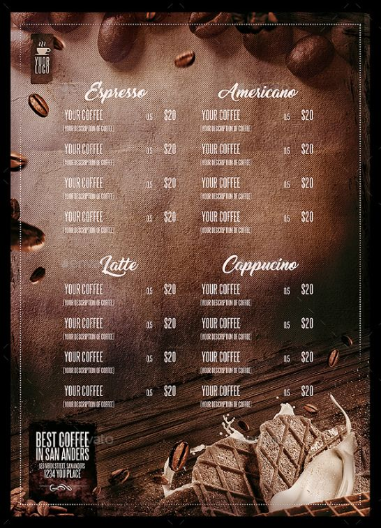Professional Coffee House Menu Template Pdf