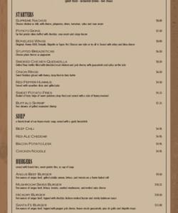 Professional Irish Pub Menu Template Word Sample