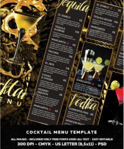 Professional Restaurant Drink Menu Template Doc Example