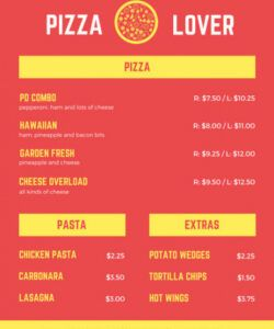 Professional Take Out Menu Template Word Example