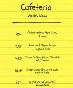 School Cafeteria Menu Template Excel