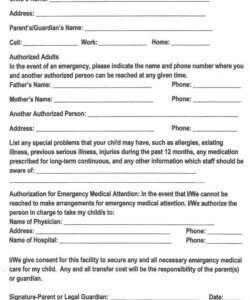 Best Emergency Medical Information Form Template Doc