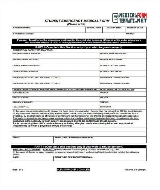 Best Emergency Medical Information Form Template Excel