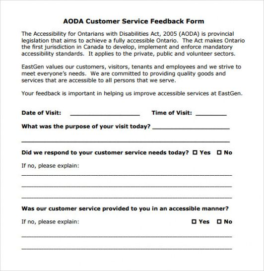 Costum Customer Feedback Form Template Doc Sample