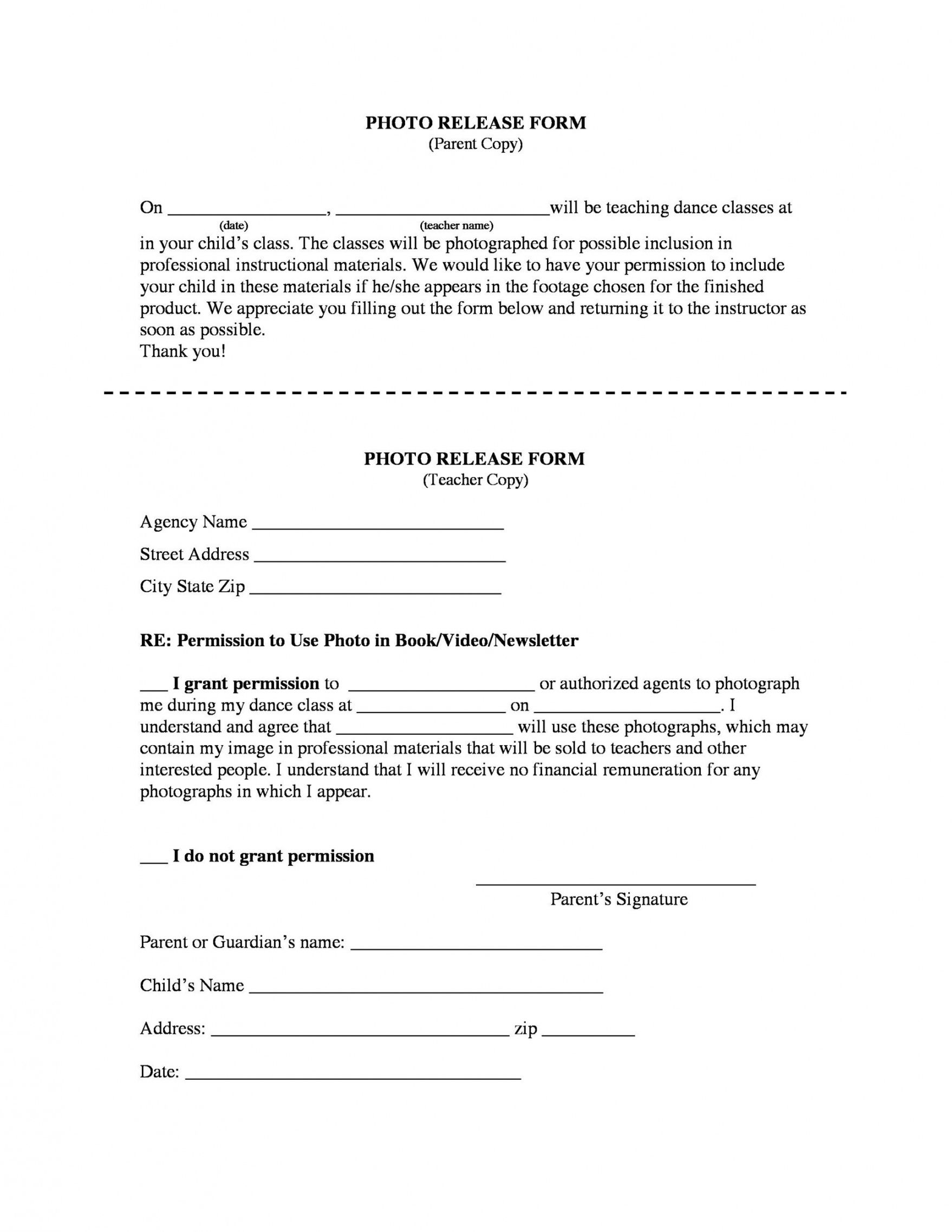 Costum Video And Photo Release Form Template Pdf Sample