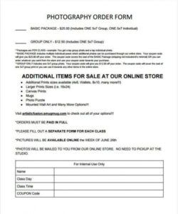 Editable Sports Photography Order Form Template Pdf Sample