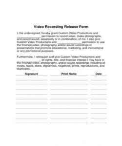 Editable Video And Photo Release Form Template