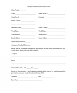 Emergency Medical Information Form Template Pdf Example