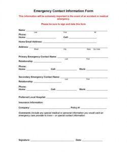 Emergency Medical Information Form Template Word Sample