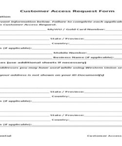 Free Access Form Template Word Sample