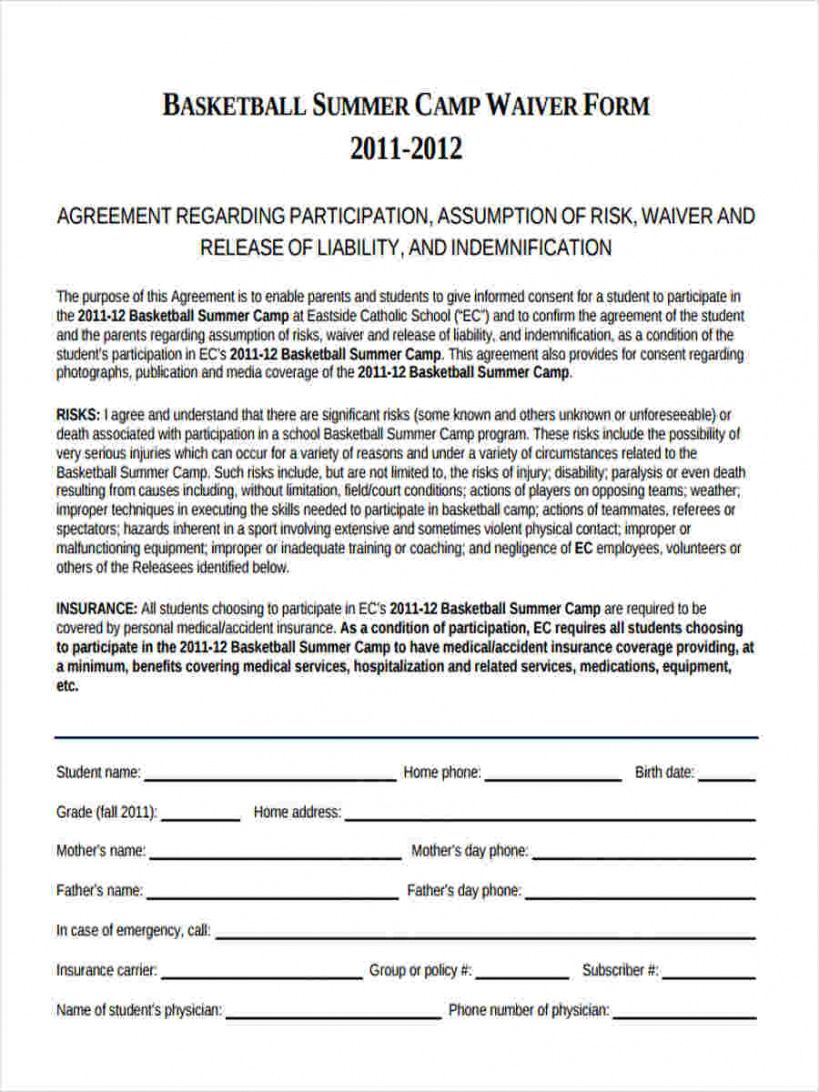 Free Sports Waiver Form Template  Example