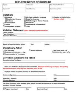 Printable Employee Corrective Action Form Template  Example