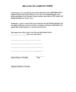 Printable Sports Waiver Form Template Word